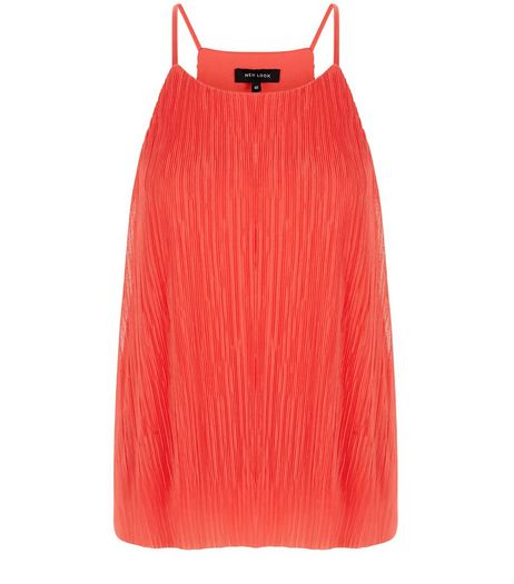 Coral Pleated Cami  | New Look