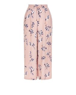 Pink Floral Print Culottes  | New Look