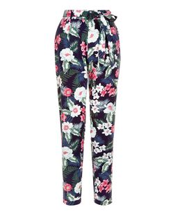 Blue Tropical Print Tie Waist Trousers  | New Look
