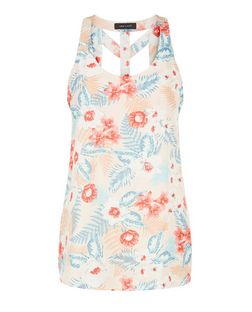 Pink Tropical Floral Print Lattice Back Sleeveless Top  | New Look