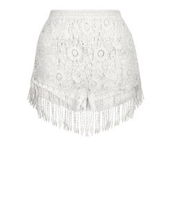Cream Crochet Fringe Trim Shorts  | New Look