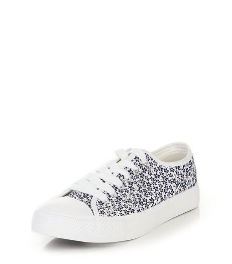 Teens Black Floral Print Lace Up Plimsolls | New Look