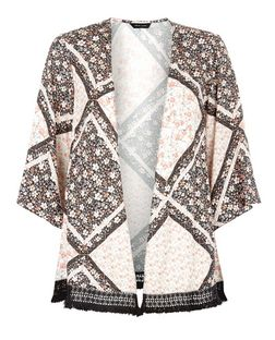 Black Disty Floral Print Fray Trim Kimono  | New Look