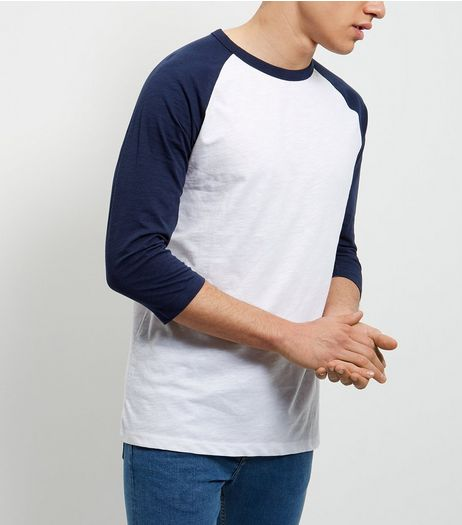 Navy Raglan 3/4 Sleeve Top  | New Look