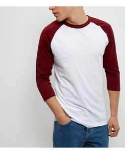 Burgundy Raglan 3/4 Sleeve Top  | New Look