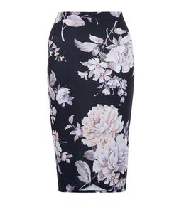 Black Floral Print Wrap Front Pencil Skirt  | New Look