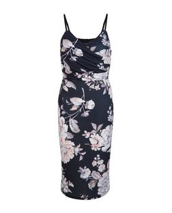 Black Floral Print Wrap Front Bodycon Dress  | New Look