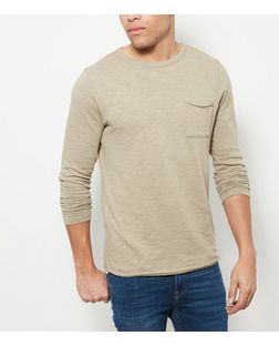 Olive Green Single Pocket Long Sleeve Top  | New Look