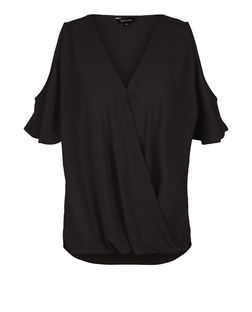 Black Cold Shoulder Wrap Shell Top | New Look