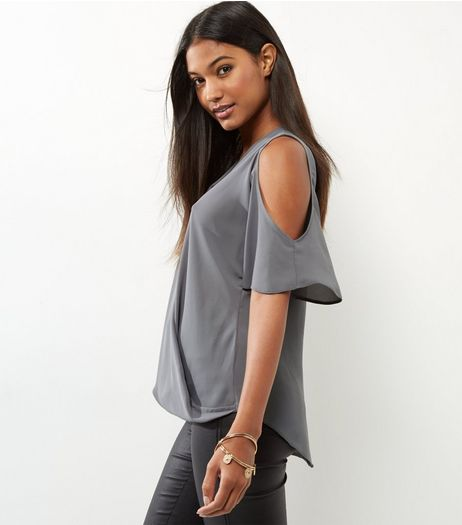 Dark Grey Cold Shoulder Wrap Front Top | New Look