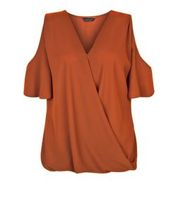 Rust Cold Shoulder Wrap Shell Top | New Look