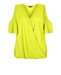 Lime Cold Shoulder Wrap Shell Top | New Look