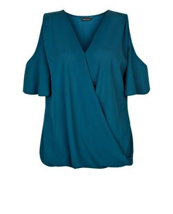 Teal Cold Shoulder Wrap Shell Top | New Look