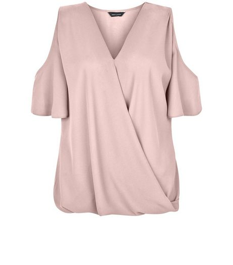 Pink Cold Shoulder Wrap Shell Top | New Look