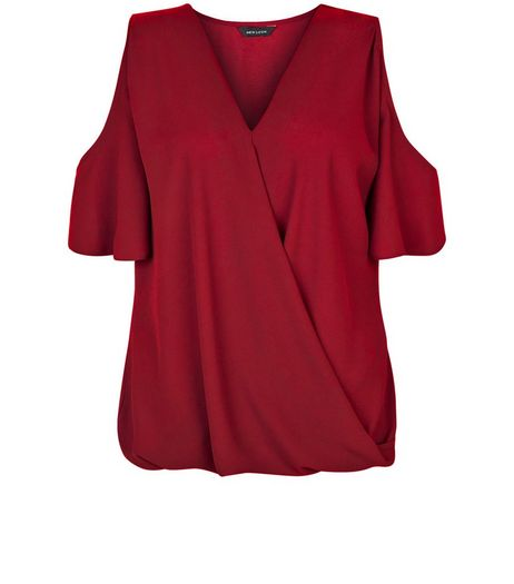 Dark Red Cold Shoulder Wrap Shell Top | New Look