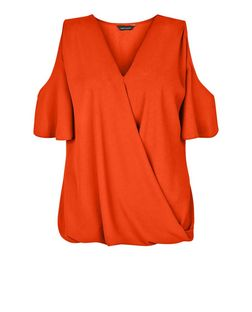 Bright Orange Cold Shoulder Wrap Shell Top | New Look