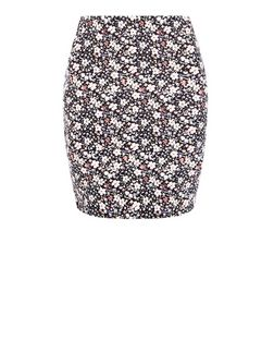 White Ditsy Floral Print Tube Skirt  | New Look