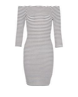 Petite Black Stripe Bardot Neck Dress | New Look
