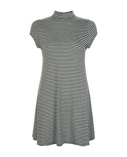Petite Black Stripe Funnel Neck Swing Dress  | New Look