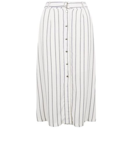 White Stripe Tie Waist Button Front Midi Skirt  | New Look