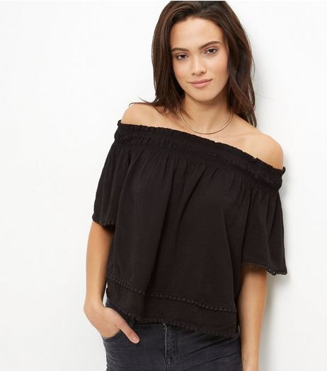 Black Crochet Trim Bardot Neck Slub Top  | New Look