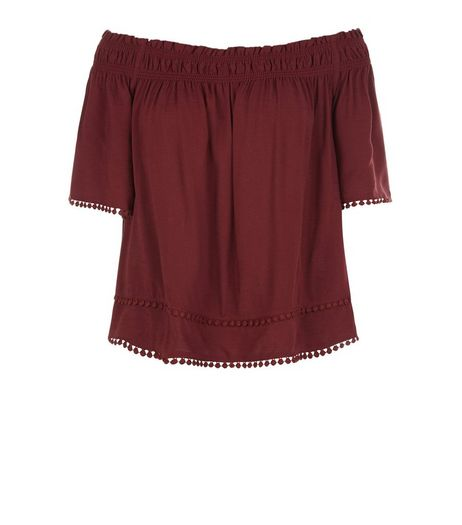 Burgundy Crochet Hem Bardot Neck Top | New Look