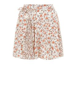 White Floral Print Tie Side Mini Skirt  | New Look