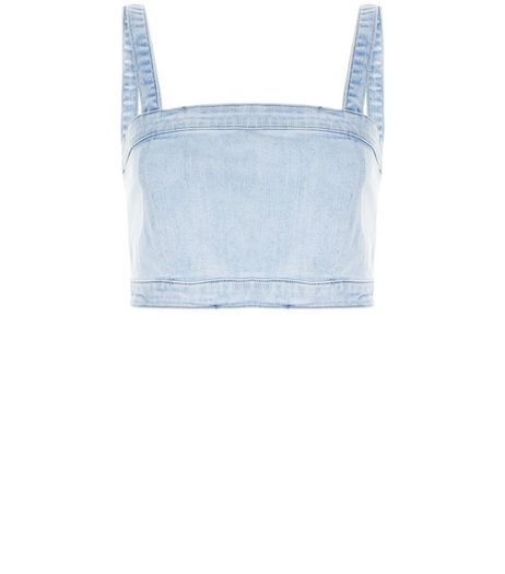 Pale Blue Denim Bralet | New Look