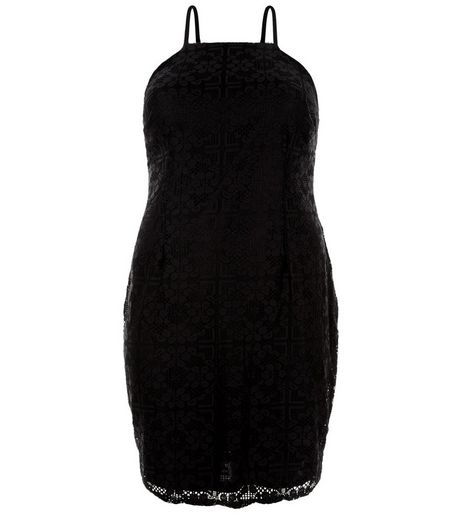 Curves Black Lace Bodycon Dress  | New Look