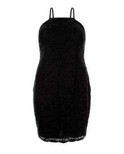 Plus Size Black Lace Bodycon Dress  | New Look
