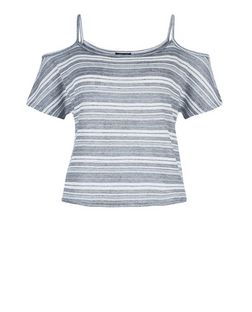 Teens Blue Stripe Cold Shoulder Top | New Look