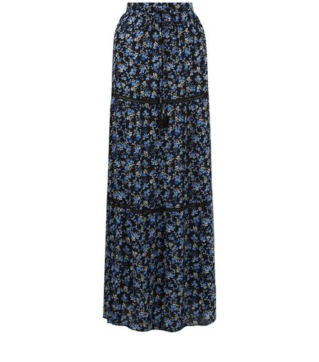 Black Floral Print Crochet Panel Maxi Skirt | New Look
