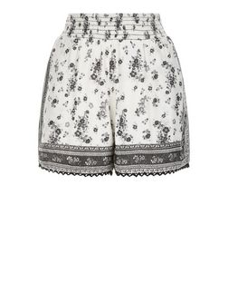 White Abstract Print Crochet Trim Shorts  | New Look