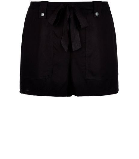 Curves Black Belted Shorts | New Look