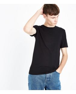 Black Cotton Stretch T-Shirt  | New Look
