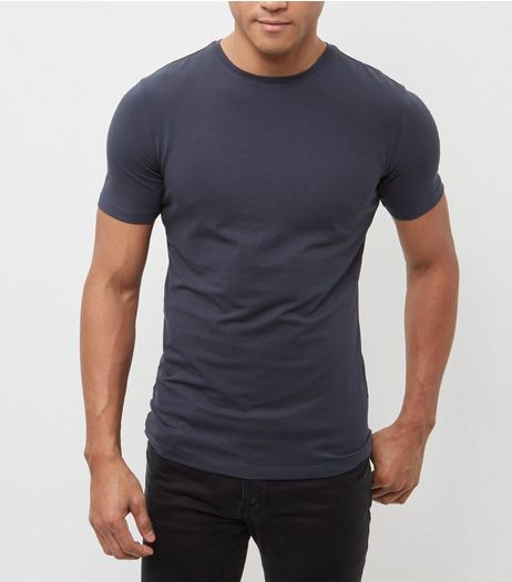 Navy Cotton Stretch T-Shirt  | New Look