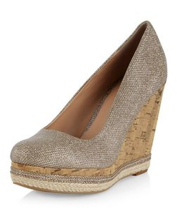 Gold Glitter Cork Wedges  | New Look