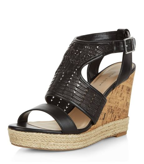 Black Woven Cut Out Wedge Sandals  | New Look