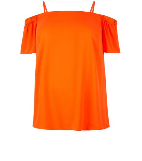 Curves Orange Bardot Neck Top | New Look