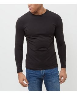 Black Cotton Stretch Long Sleeve Top  | New Look