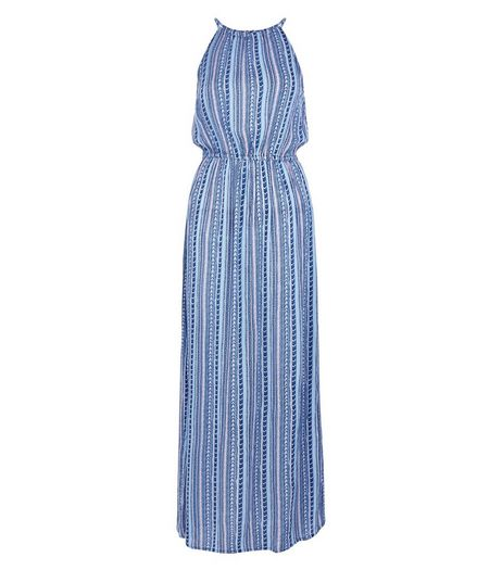 Teens Blue Stripe Aztec Print High Neck Maxi Dress | New Look