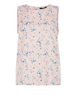 Pink Floral Print Button Back Sleeveless Top  | New Look