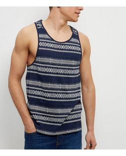 Navy Stripe Aztec Print Vest | New Look