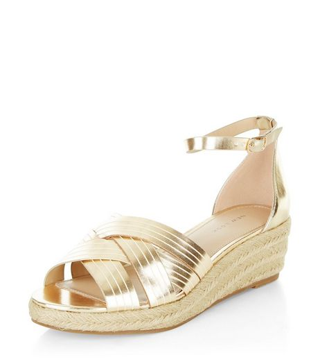 Gold Cross Strap Ankle Strap Flatform Espadrilles  | New Look