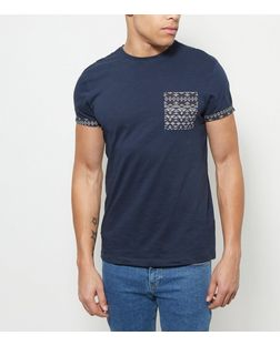 Navy Aztec Print Pocket T-Shirt | New Look