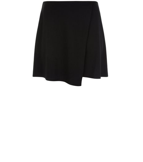 Curves Black Textured Wrap Skirt  | New Look