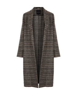 Black Check Unlined Coat  | New Look