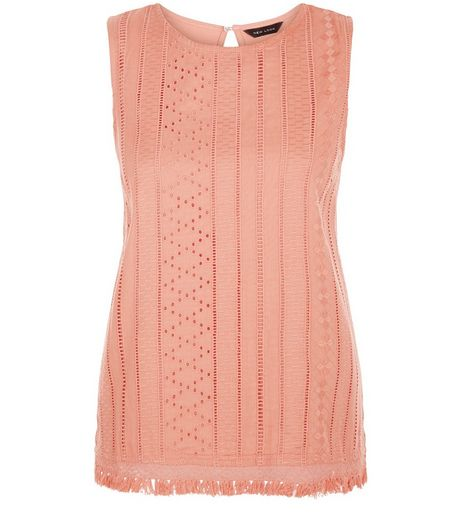 Coral Laser Cut Out Fray Hem Sleeveless Top  | New Look