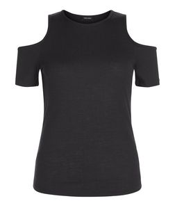 Black Ribbed Cold Shoulder T-Shirt | New Look