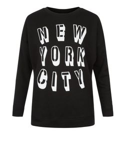 Black New York City Print Sweater | New Look